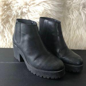 Zara Platform Leather Ankle Boots